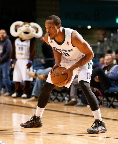 Reno Bighorn RA'SHAD JAMES (10) looks to make his move during the NBA D-League Basketball game between the Reno Bighorns and the Oklahoma City Blue at the Reno Events Center in Reno, Nevada.