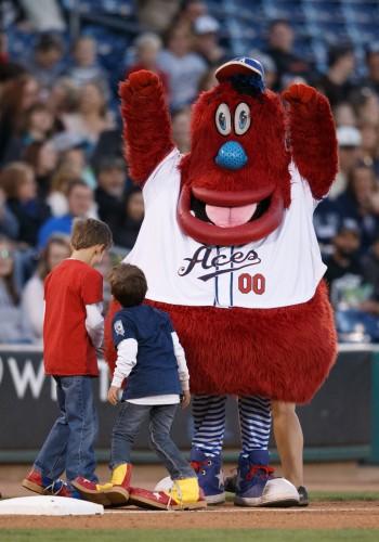 Reno Aces mascot Archie celebrates
