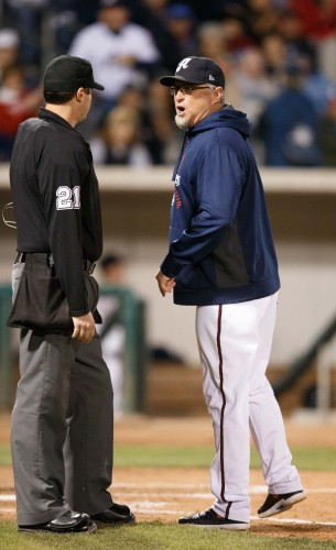 Reno Aces Manager PHIL NEVIN protests being ejected